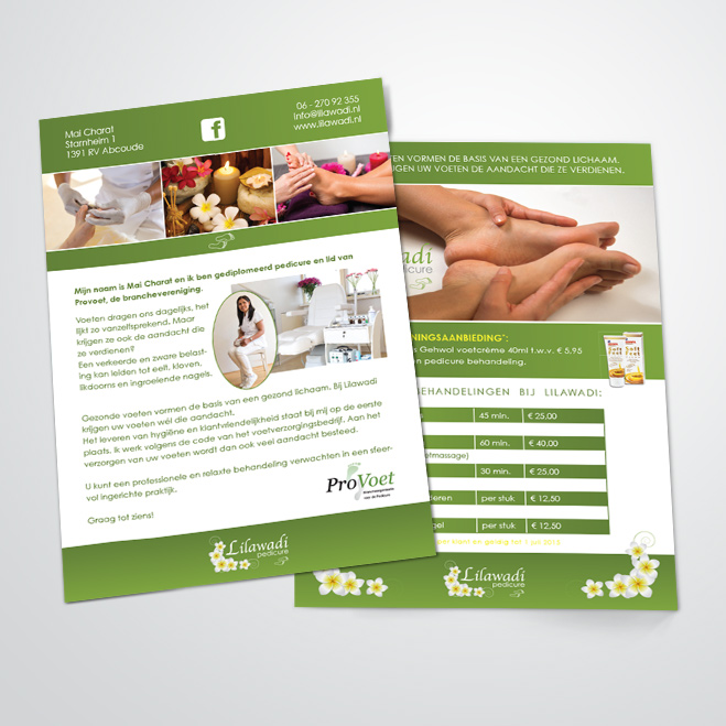 flyers voor pedicure Lilawadi