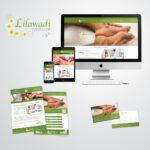 Complete huisstijl voor pedicure Lilawadi, inclusief logo, visitekaart, flyer en website